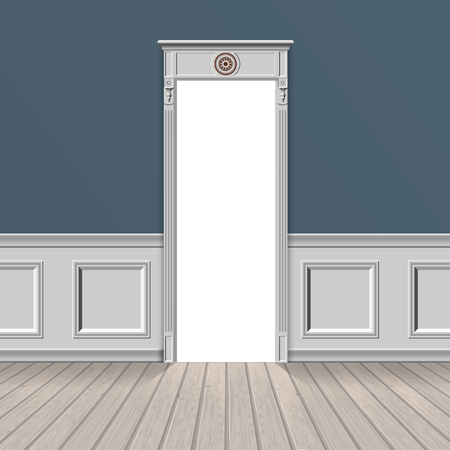 Light illuminates the empty room through the open doorway. Wooden parquet floor and stucco wall. Vector realistic concept illustration.