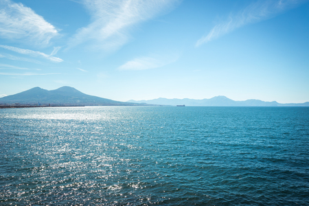 View of the bay and Vesuvius Volcano