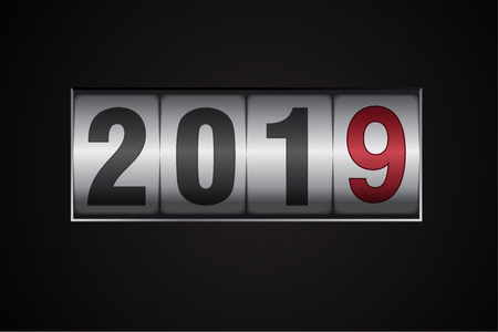 New year mechanical counter showing 2018 switching to 2019