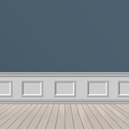classic wall and wooden floor, architectural background. Vector illustration of interior.