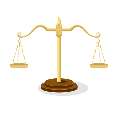 Equilibrium scales. Standing balance judicial scales isolated on white background, court concept cartoon vector illustration Illustration