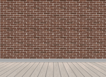 Red brick wall and wooden floor, architectural background. Vector illustration of interior.