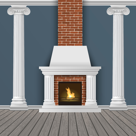 Classic interior wall with fireplace, sconces and pilasters. Vector realistic illustration. Indoor background. 일러스트
