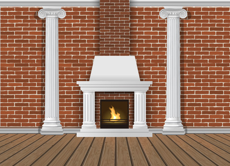 Classic interior wall with fireplace, sconces and pilasters. Vector realistic illustration. Indoor background. Ilustração