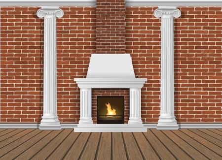 Klassische Innenwand mit Kamin, Wandlampen und Pilastern. Vektor realistische Illustration. Innenhintergrund.