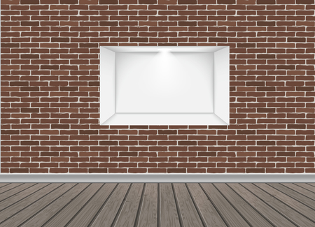 Empty Niche Vector. Realistic Brick Wall. Clean Shelf, Niche, Wall Showcase. Good For Presentations, Display Your Product. Illuminated Light Lamp Illustration