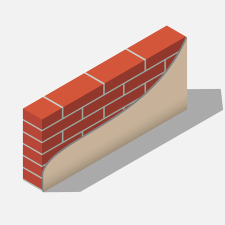 red brick wall in isometric view. construction material for building. applying a layer of gray cement mortar. Home repair.