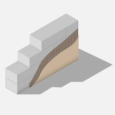Cross-section layered scheme of a aerated concrete wall thermal isolation. All layers of exterior insulation from base to finishing.