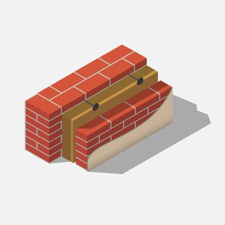 Construcción de capas de pared de ladrillo con aislamiento y revestimiento isométrico.