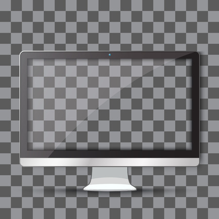 Modern TV lcd monitor with transparent screen isolated on transparent background