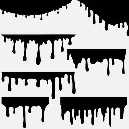 Paint dripping. Dripping liquid. Paint flows. Current paint, stains. Current drops. Current inks. Vector illustration. Color easy to edit. Transparent background