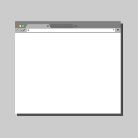 Simple browser window on grey background. Chrome browser. Flat vector stock illustration.