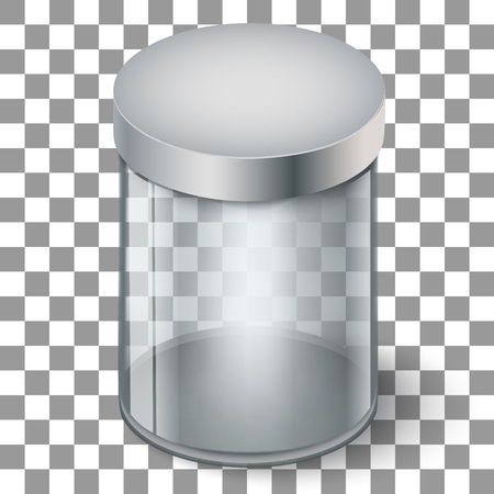 Empty transparent glass cylinder 3d showcase isolated vector illustration. Museum and market gallery box
