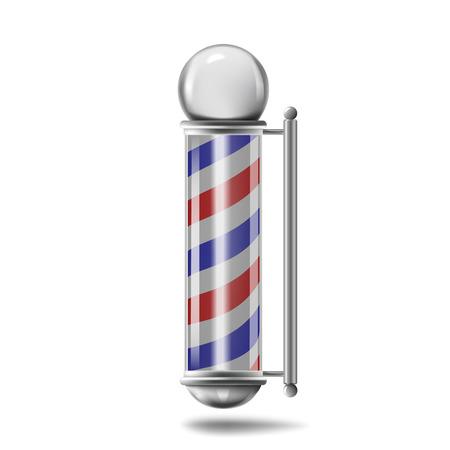 realistic Barber pole isolated on white background Ilustração