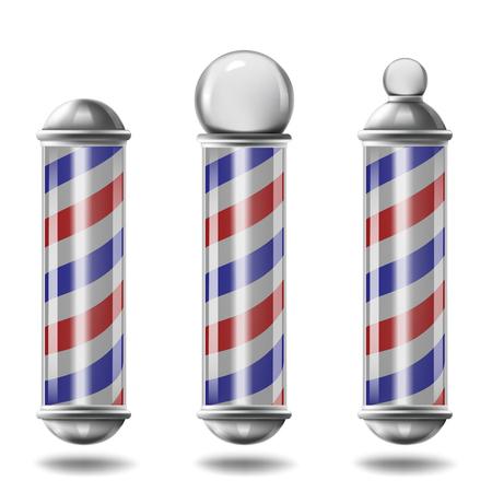 realistic Barber pole set isolated on white background