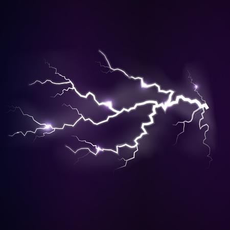 Lightning flash light thunder spark on dark background. Vector spark lightning or electricity blast storm or thunderbolt in sky. Natural phenomenon of human nerve or neural cells system