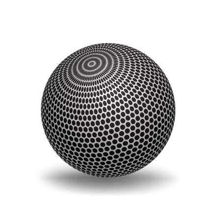 White 3D Sphere with Mapped Black and White circle Texture - Vector Illustration 일러스트