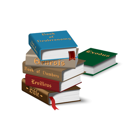 Isometric holy books stack icon in flat style. Vector Illustration