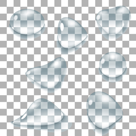 Transparent water drops set. Vector illustration. Clean pure aqua droplets. Realistic dew.