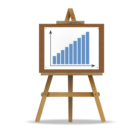 Graph Presentation on wooden easel Vector Icon