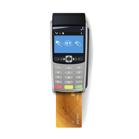 Vector Realistic Silver 3d Payment Machine. POS Terminal with Credit Card Closeup Isolated on White Background. Design Template of Bank Payment Terminal, Mockup. payments device. Top View