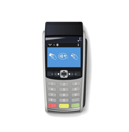 Modello di terminale di pagamento. Terminale POS con schermo vuoto. Terminale della carta di credito isolato su priorità bassa bianca. Registratore di cassa. Macchina per carte di credito. Illustrazione vettoriale