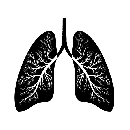 Lungs black icon, cartoon style. Internal organs of the human design element, logo. Anatomy, medicine concept. Healthcare. Isolated on white background. Vector illustration