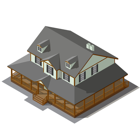 American Cottage, Small Wooden House For Real Estate Isometric Vector EPS10