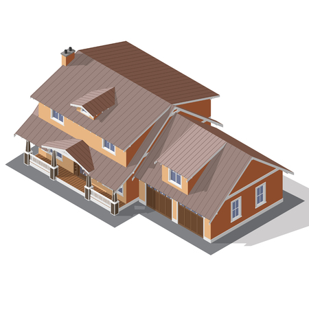 American Cottage, Small Wooden House For Real Estate Isometric Vector EPS10 Vetores