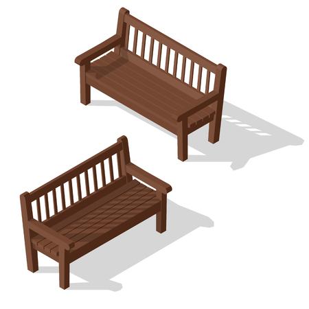 Wooden park bench set. Illustration