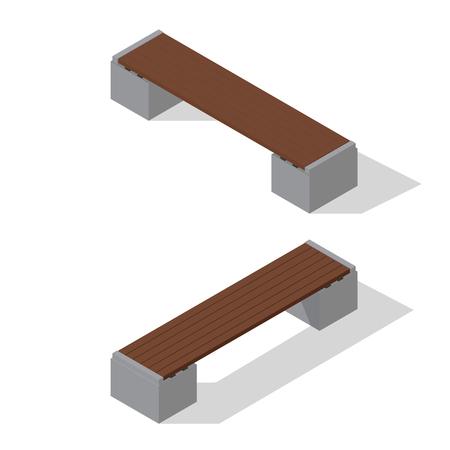 Isometric benches set isolated on white. Vector illustration
