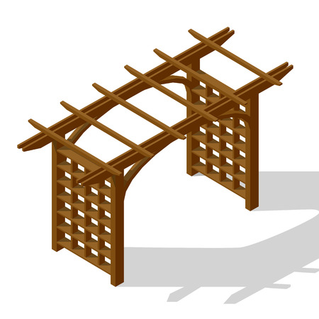 Inner courtyard pergola isometric icon vector graphic illustration Reklamní fotografie - 117108283
