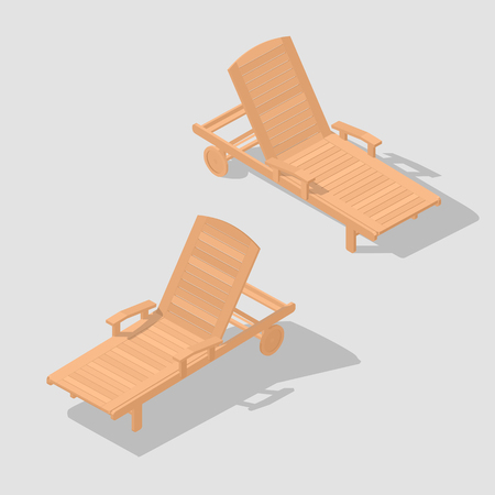 Sunbed for relaxing and sunbathing. Wooden beach bench. Hobby on vacation. A place to rest. Icon for a travel company. Vector illustration. Vettoriali