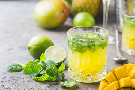 Mango mint mojito cocktail