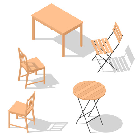 various kind of isometric chair and table with shadows set vector illustration flat design