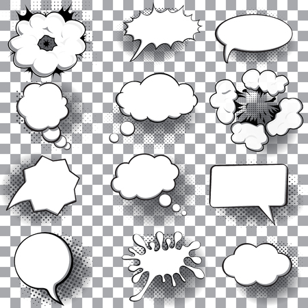 Blank empty speech bubbles. Isolated on transparent background. Vector illustration.