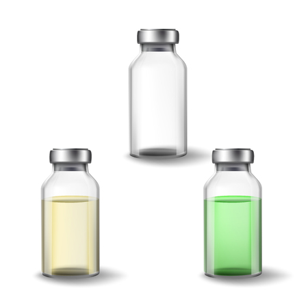 Glass Medicine Vials. Botox. Vector Illustration set