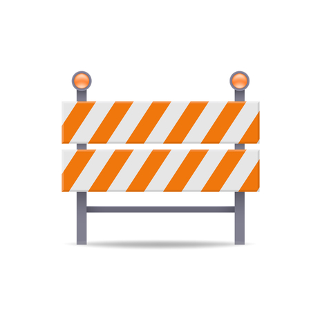 road barrier flat vector icon against white Illustration