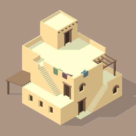 maison arabe isométrique Vecteurs