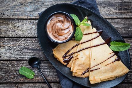 Crepes with chocolate spread 版權商用圖片