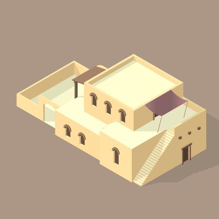 Maison arabe iso isolée sur le sable Vecteurs