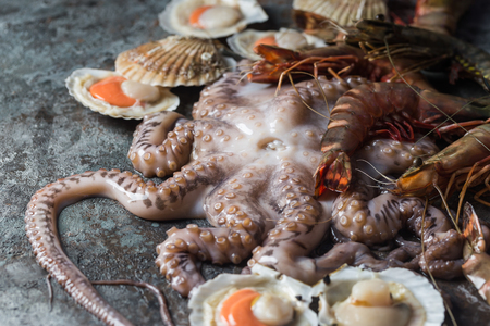 Assortment of raw seafood