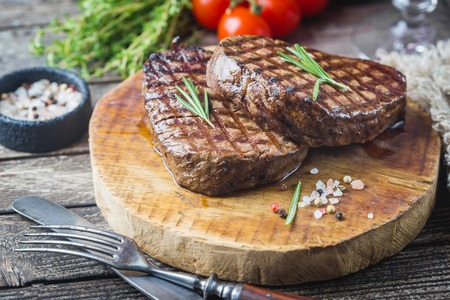 Grilled marbled meat steak Stock Photo