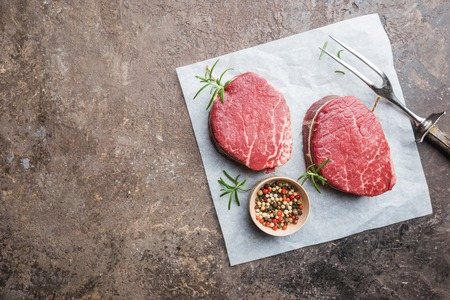Raw marbled meat steak Stock Photo