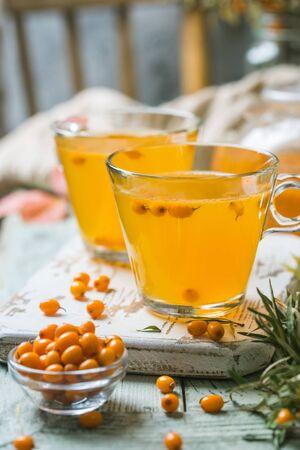 Healthy sea buckthorn tea Imagens