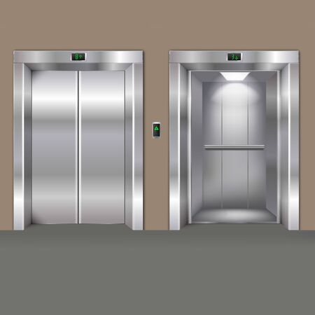 Vector Realistic Open and Closed Chrome Metal Office Building Elevator Doors Isolated on Background