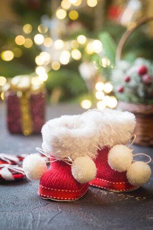 Santas shoe on shining christmas background