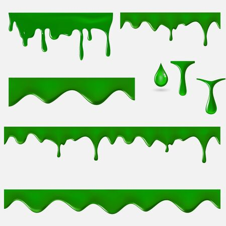 Green slime. Halloween seamless pattern. 3d vector set