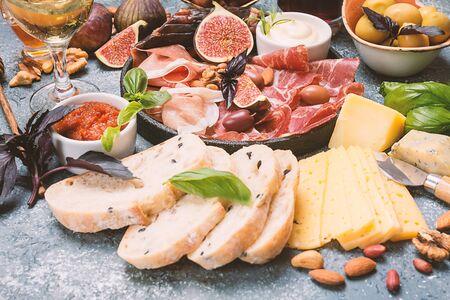 Italian antipasti wine snacks set 스톡 콘텐츠