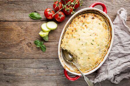 Casserole with chicken and zucchini